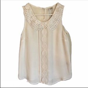 LC Ivory Lace Sheer Sleeveless Button Blouse XS